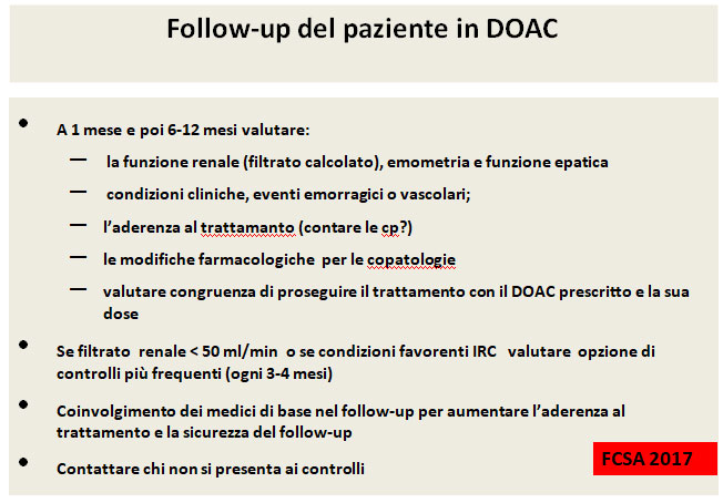 Follow up paziente in DOAC