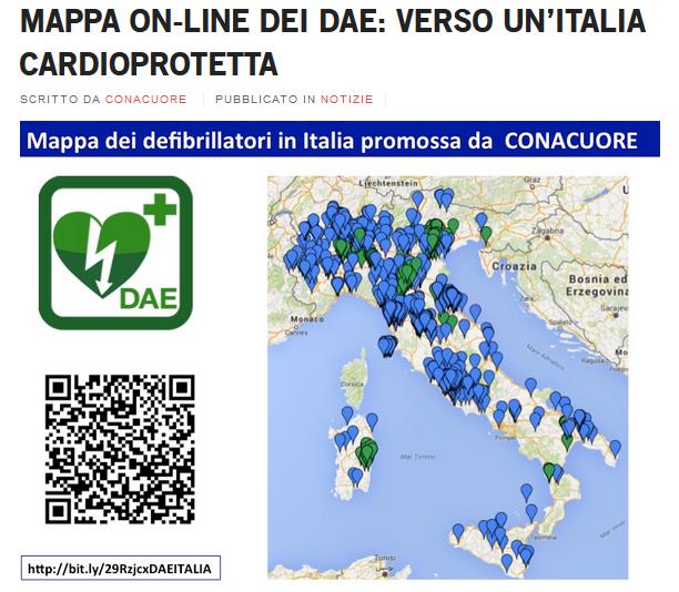 Mappa defibrillatori in Italia